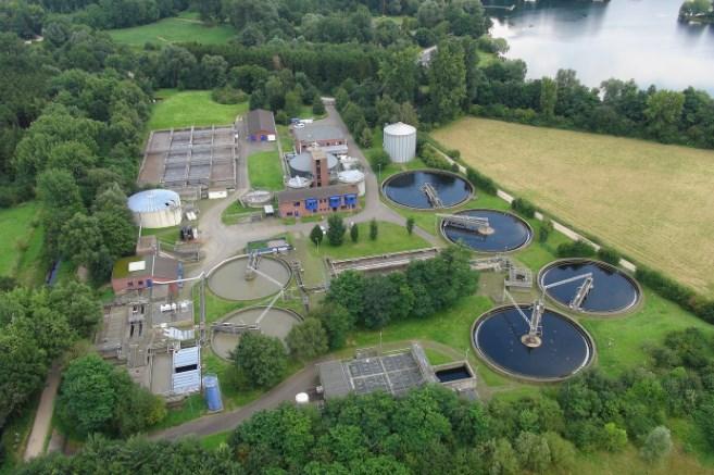 Luftbild der Kläranlage Ratheim